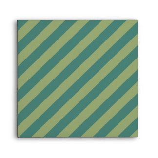 Square 5x5 Teal and Sage Green Striped Envelopes