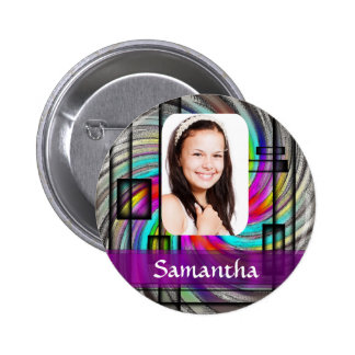 Square abstract photo template pinback button