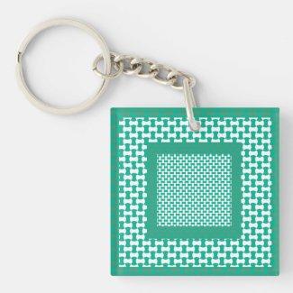 Square Acrylic Keychain, Emerald Green Geometric