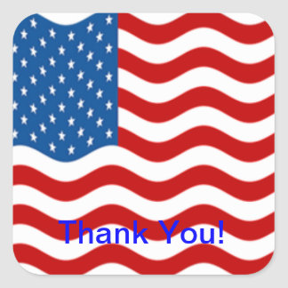 Square American Flag Thanks Sticker