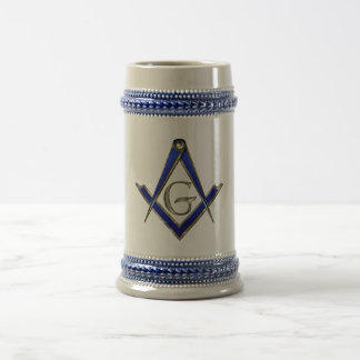 Square and Compass Blue Beer Stein