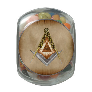 Square and Compass with All Seeing Eye Glass Jars