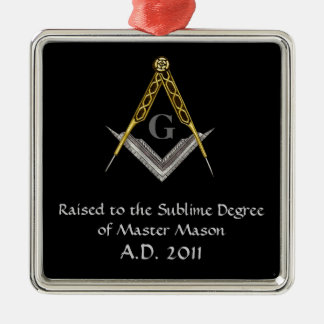 Square and Compass with All Seeing Eye Metal Ornament