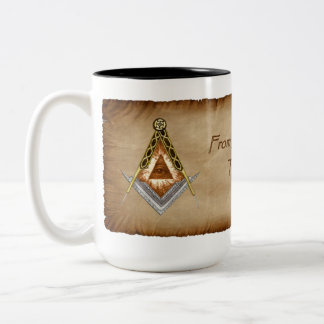 Square and Compass with All Seeing Eye Two-Tone Coffee Mug