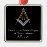 Square and Compass with All Seeing Eye Square Metal Christmas Ornament