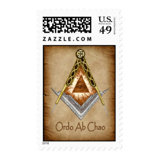 Square and Compass with All Seeing Eye Stamp