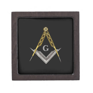 Square and Compass with All Seeing Eye Premium Jewelry Boxes