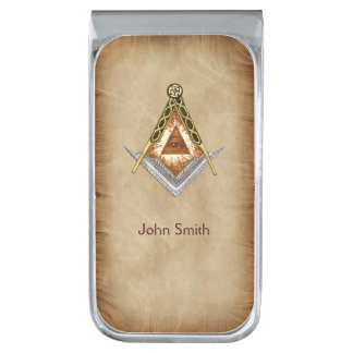Square and Compass with All Seeing Eye Silver Finish Money Clip