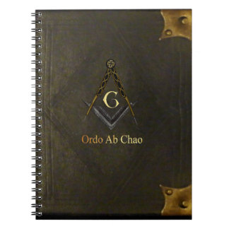 Square and Compass with All Seeing Eye Spiral Note Book