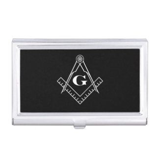 Square and Compass with inset G (White) Business Card Holder