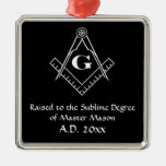 Square and Compass with inset G (White) Ornament