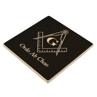 Square and Compass With Inset G Wooden Coaster