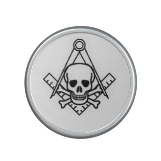Square and Compass with Inset Skull Bluetooth Speaker