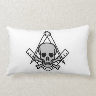 Square and Compass with Inset Skull Lumbar Pillow