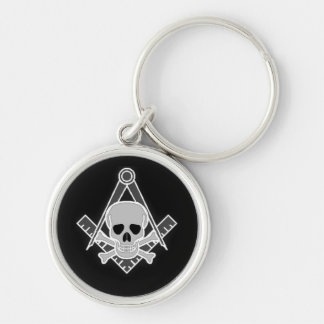 Square and Compass With Skull Key Chain