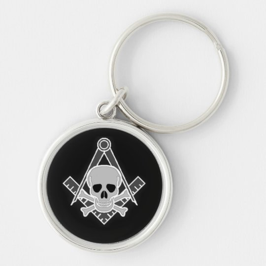 Square and Compass With Skull Keychain