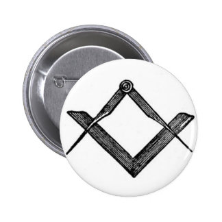 Square and compasses pinback button