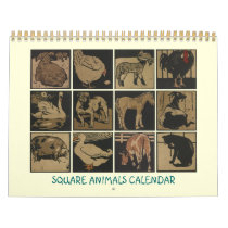 Square Animals Calendar - Barnyard Drawings