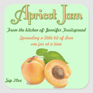Square Apricot Jam Food Canning Label