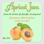 Square Apricot Jam Food Canning Label Sticker
