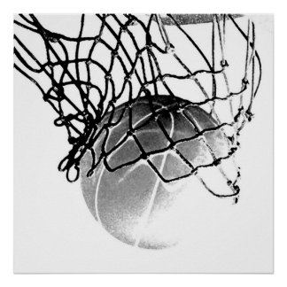 Square B&W Basketball Ball & Net Print Poster