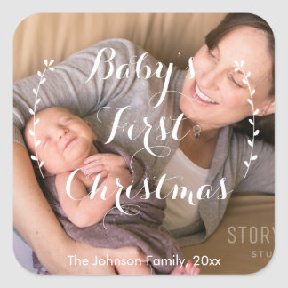 Square Babies First Christmas Photo Stickers