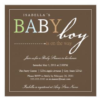 Square BABY BOY Baby Shower Invitation