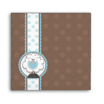Square Baby Sheep Blue Brown Baby Shower Envelopes