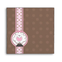Square Baby Sheep Pink Brown Baby Shower Envelopes