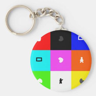 square basic round button keychain