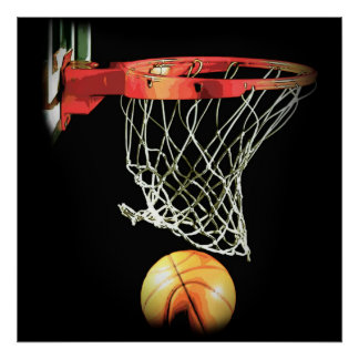 Square Basketball Ball & Net Poster