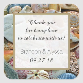 Square Beach Wedding Thank You Favor Labels Square Sticker