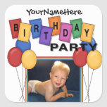 Square Birthday Party Photo Stickers