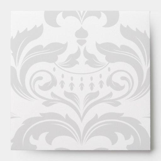 Square Black and White Damask Flap Envelopes