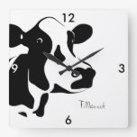 Square Black and White Tillamook Cow Clock