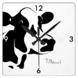 Square Black and White Tillamook Cow Clock