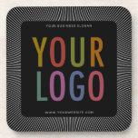 """Square Black Custom Plastic Coasters Company Logo<br><div class=""""desc"""">Easily personalize these square custom plastic coasters with your own company logo. They have a glossy finish with a cork backing, and you can change the background color to match your logo or corporate colors. Custom printed promotional coasters with your business logo are functional yet promotional in a classy way...</div>"""