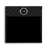 Square Black Damask Flap Monogram Envelopes