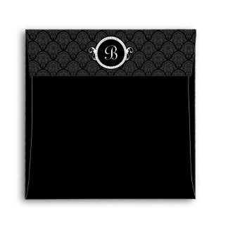 Square Black Damask Flap Monogram Envelopes