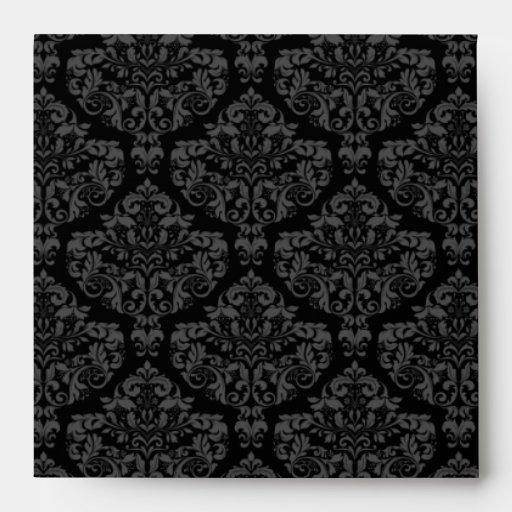 Square Black Damask Monogrammed Envelopes