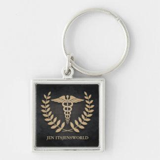 Square Black & Gold Medical Caduceus Custom Keychain
