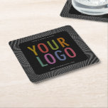 "Square Black Pulpboard Paper Coasters Company Logo<br><div class=""desc"">Easily personalize these square black pulpboard paper coasters with your own company logo. These are 50 point pulpboard (THE SIDE VIEW IS SHOWING A SET OF SIX) featuring a black background with white radiating stripes. You can change the background color to match your logo or corporate colors. Custom printed promotional...</div>"
