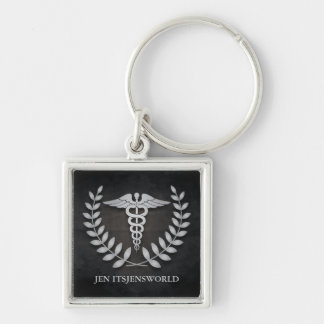 Square Black & Silver Medical Caduceus Custom Keychain