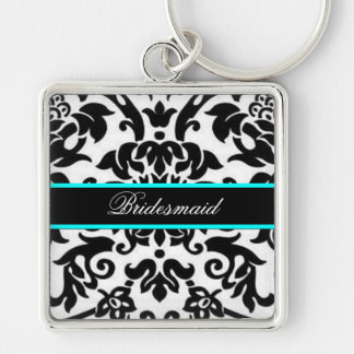 Square Black white & aqua damask bridesmaid Keychain