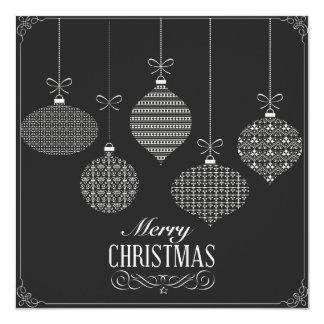 Square Black & White Christmas Balls Invitation