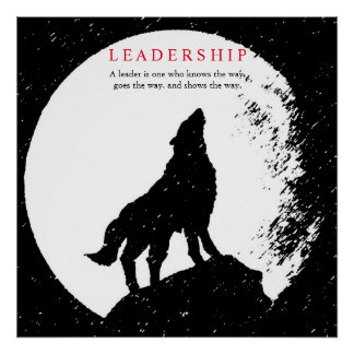 Square Black White Inspirational Leadership Wolf Poster
