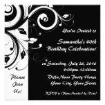 Square Black+White Reverse Swirl Party Invitations