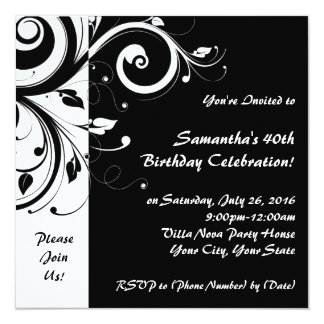 Square Black+White Reverse Swirl Party Invitations