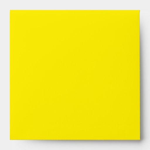 Square Black Yellow Damask Flap Monogram Envelopes