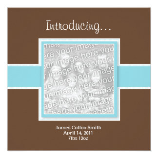 Square Blue and Brown Birth Announcement